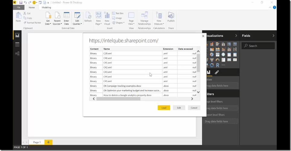 7 Import SharePoint libraries into Power BI and create links to the documents