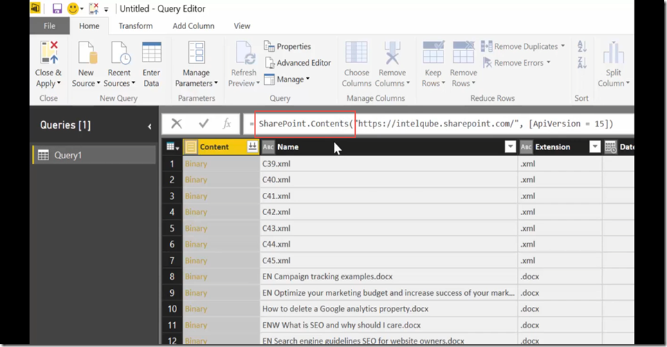 9 Import SharePoint libraries into Power BI and create links to the documents