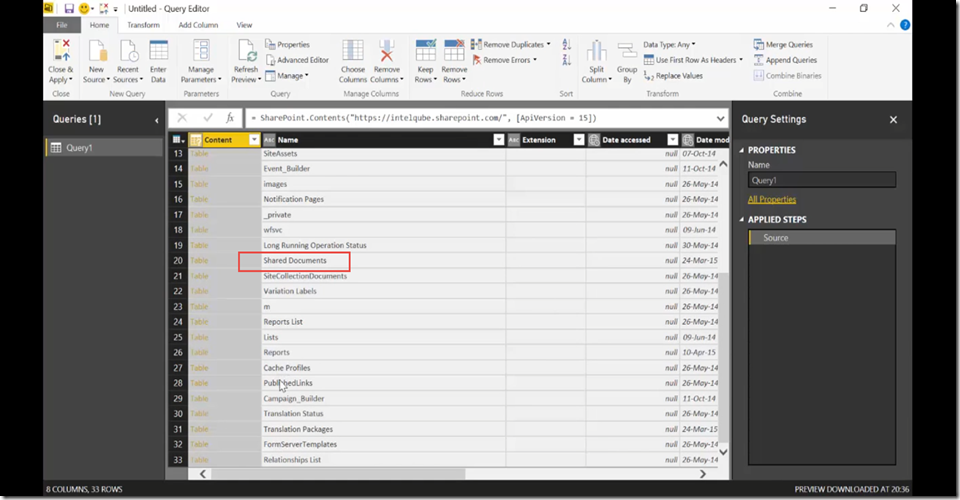 11 Import SharePoint libraries into Power BI and create links to the documents