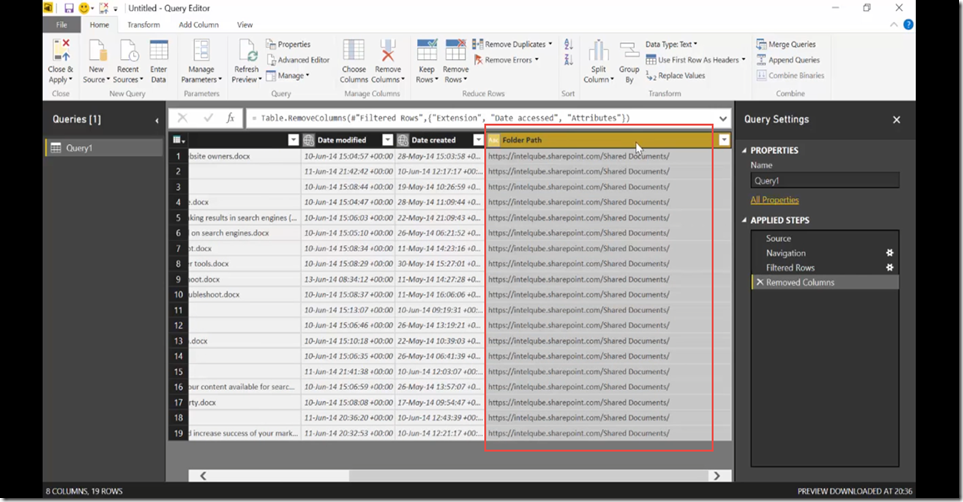 14 Import SharePoint libraries into Power BI and create links to the documents