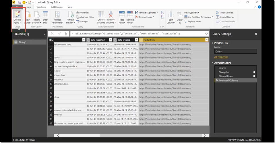 15 Import SharePoint libraries into Power BI and create links to the documents