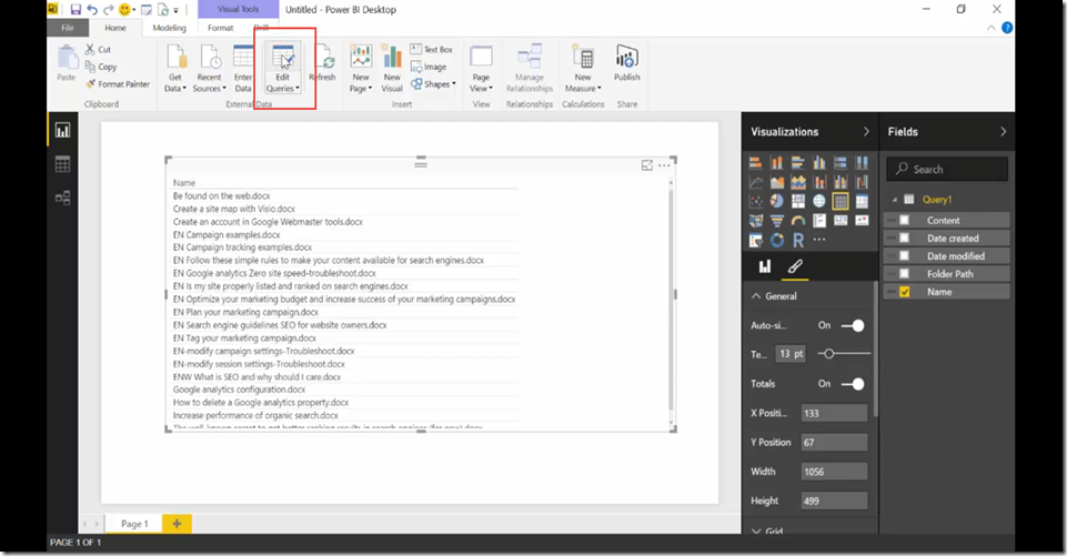 18 Import SharePoint libraries into Power BI and create links to the documents