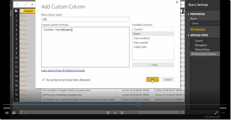 20 Import SharePoint libraries into Power BI and create links to the documents
