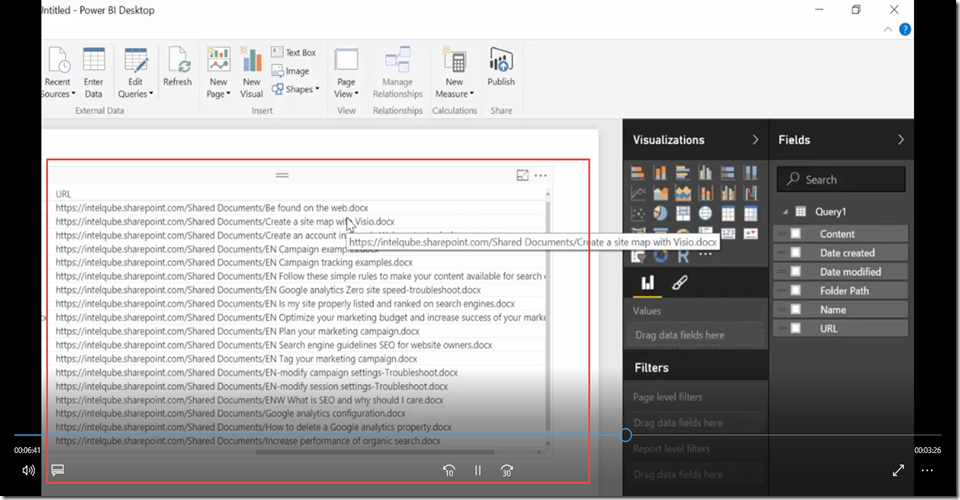 23 Import SharePoint libraries into Power BI and create links to the documents